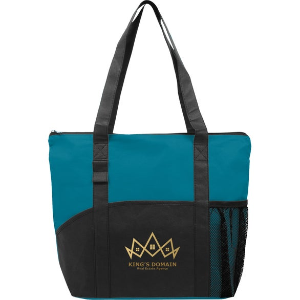 Teal / Black Poly Pro Pocket Tote Bag
