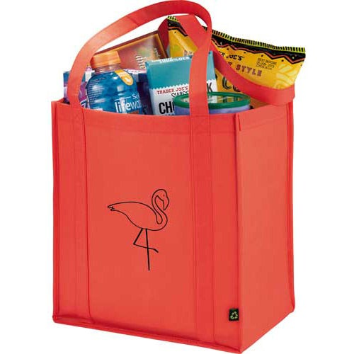 Red Non-Woven Little Grocery Tote Bag