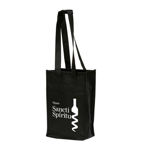 Black Polytex Wine Bottle Tote