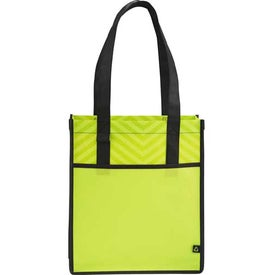 Branded Chevron Shopper Tote Bag