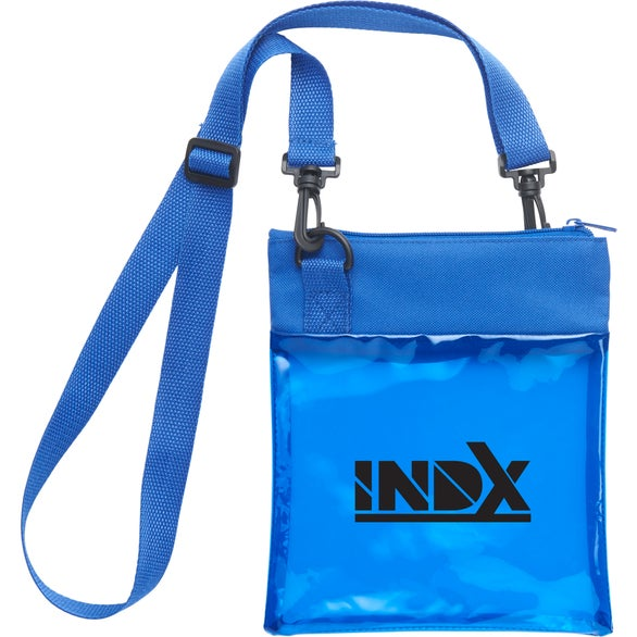 Blue Rally PVC Crossbody Tote Bag