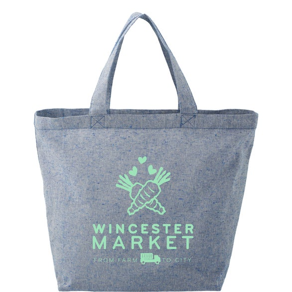 Blue Recylced Cotton Twill Grocery Tote