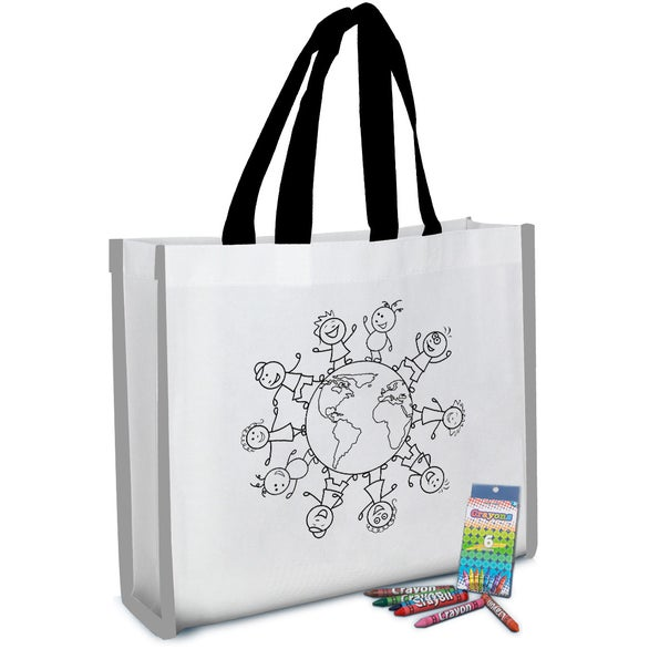 White / Black Reflective Coloring Tote Bag with Crayons