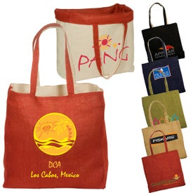 Logo Reversible Jute and Cotton Tote