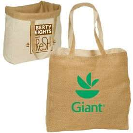 Branded Reversible Jute and Cotton Tote