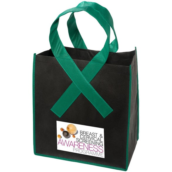 Black / Green Ribbon Grocery Shopper Tote Bag