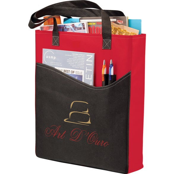 Red / Black Rivers Pocket Non-Woven Convention Tote Bag