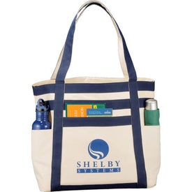 Printed Rugby Stripe Boat Tote