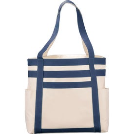 Rugby Stripe Boat Tote Branded with Your Logo