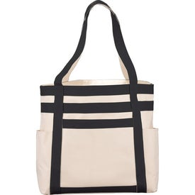 Rugby Stripe Boat Tote Printed with Your Logo