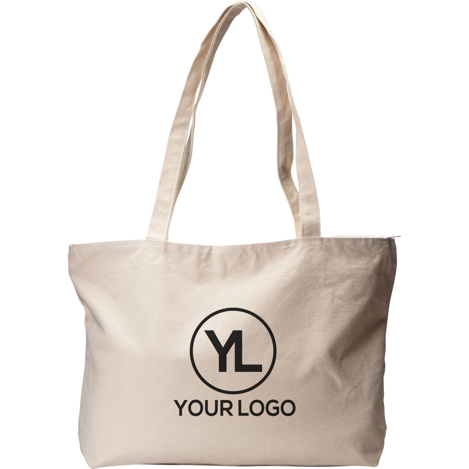 5d4ca1e1474 Promotional Signature Cotton Zippered Totes with Custom Logo for ...