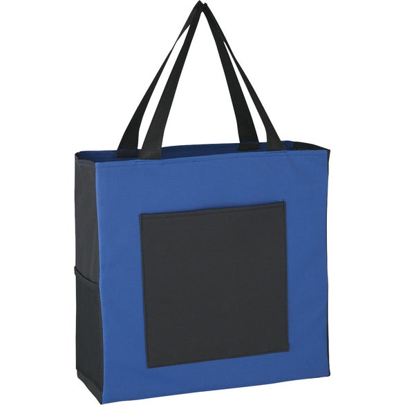 Royal Blue / Black Simple Shopping Tote Bag