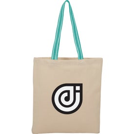 Stripe Handle Cotton Canvas Convention Tote Bag (6 Oz.)