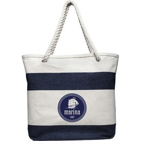 Striped Canvas Tote Bag with Rope Handles
