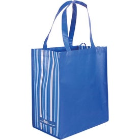Striped Tote Bag, 80% Post Consumer Material Printed with Your Logo