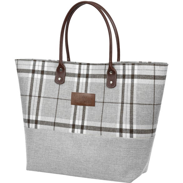 Gray / White / Black Tartan Jute Tote Bag