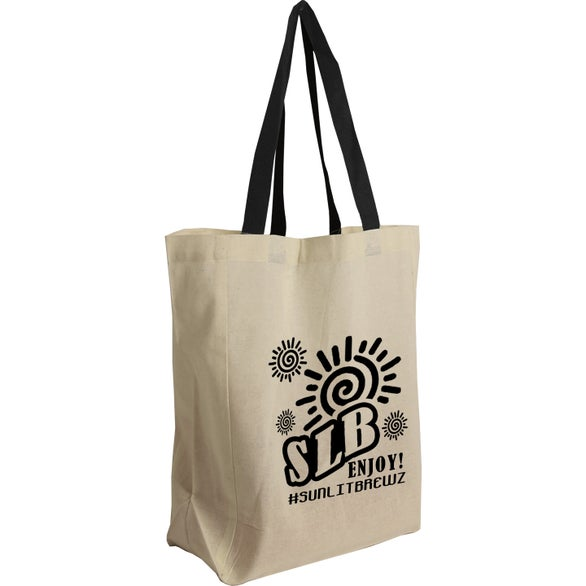 Tan / Black Brunch Tote Cotton Grocery Bag