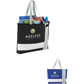 Tri Block Zippered Business Tote Bag
