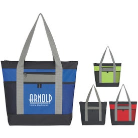 Tri-Color Zippered Tote Bag