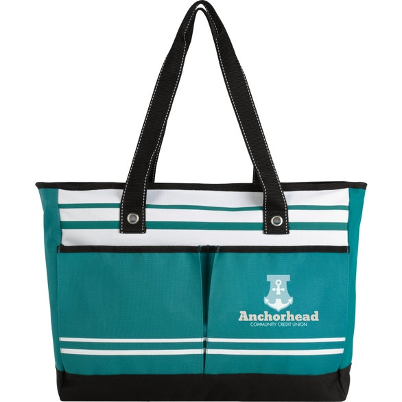 Teal Two-Pocket Fashion Tote Bag
