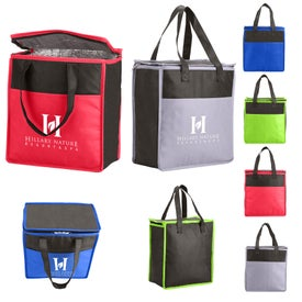 Two-Tone Flat Top Insulated Nonwoven Grocery Tote Bag