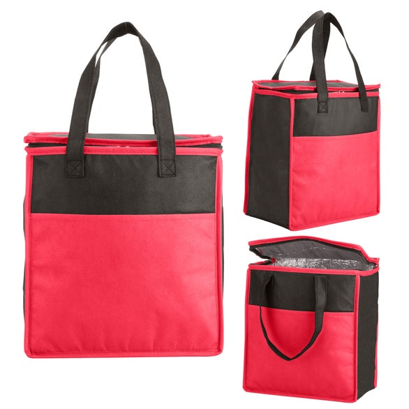 Red / Black Two-Tone Flat Top Insulated Nonwoven Grocery Tote Bag
