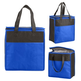 Two-Tone Flat Top Insulated Nonwoven Grocery Tote Bags