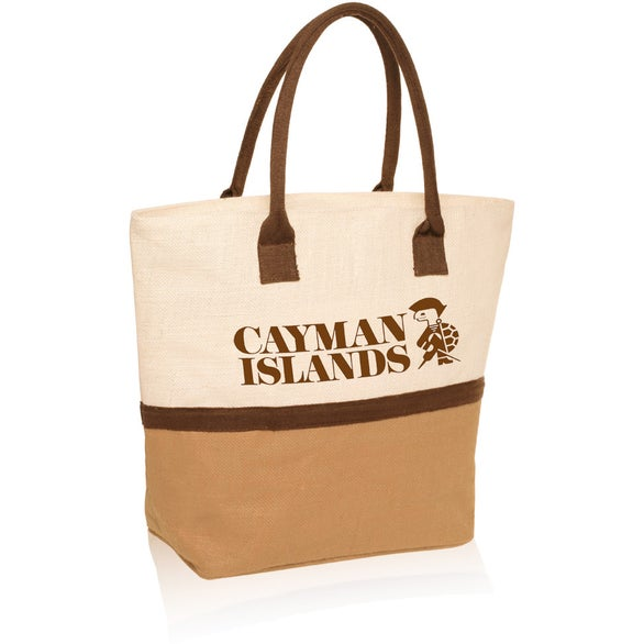 Natural Two-Tone Jute Beach Tote Bag
