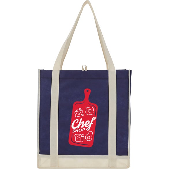 Navy Two-Tone Non-Woven Little Grocery Tote Bag