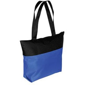 Branded Two-Tone Zipper Tote Bag