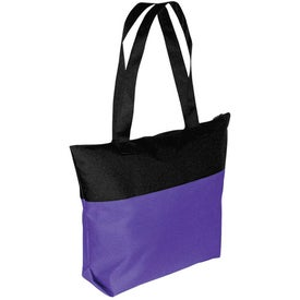 Two-Tone Zipper Tote Bag