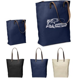 Urban Cotton Tote Bag with Leather Handles