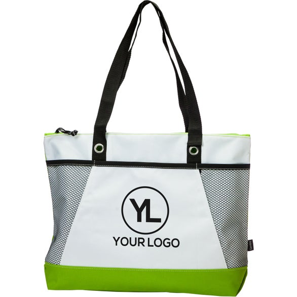 White / Apple Green Venture Business Tote Bag