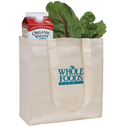 Natural V Organic Cotton Grocery Tote Bag
