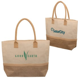 Wanderlust Laminated Jute and Canvas Tote