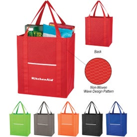 Wave Design Non-Woven Shopper Tote Bags