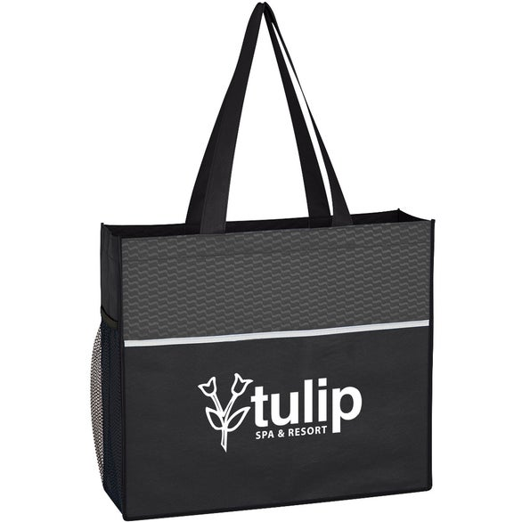 Black Wave Design Non-Woven Tote Bag