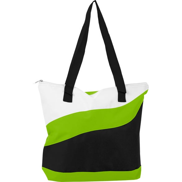 White / Lime / Black Wave Tote Bag