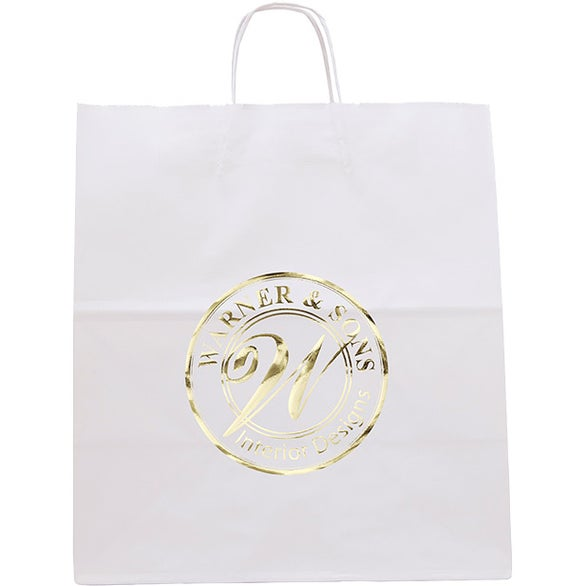 White Kraft White Knight Seal-able Tote Bag