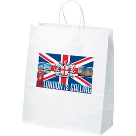 White Kraft Citation Tote Bags (Full Color Logo)