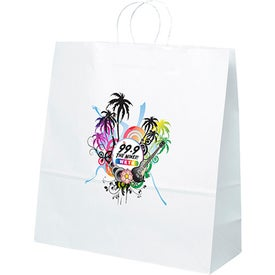White Kraft Duke Tote Bags (Full Color Logo)