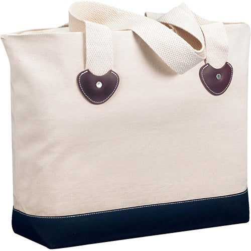 Natural / Black Zippered Boat Tote Bag