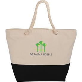 Zippered Cotton Canvas Rope Tote Bag