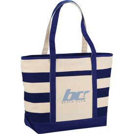 Zippered Cotton Canvas Stripe Tote Bag