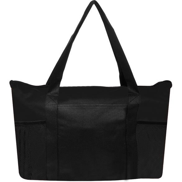 Black Zippered Non-Woven Tote Bag