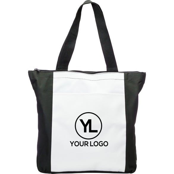 White / Black Zippered Tote Bag