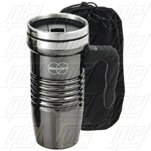 Black Chrome Retro Travel Mug