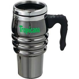 Customized Black Chrome Tri-Roll Travel Mug