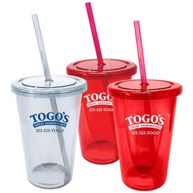 Plastic Tumbler with Straw (20 Oz.)