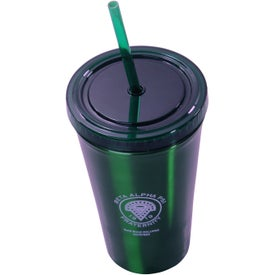 Printed Alumni Steel Varsity Tumbler with Straw
